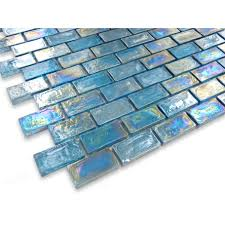 buy blue uniform brick glass glossy iridescent tile loversiq