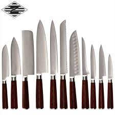 professional kitchen knives set qing damascus 9cr18mov steel damascus kitchen knife 11 pcs