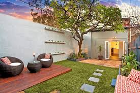 painted brick wall deck contemporary with stone walkway form