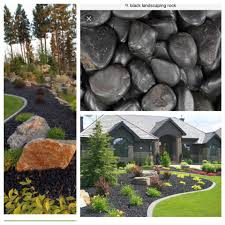 Landscaping Front Of House by Black Landscaping Rocks Instead Of Mulch For Front Of House