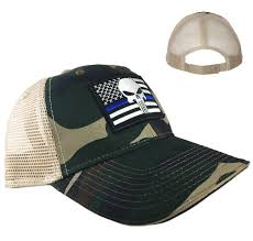American Flag Camo Hat Camo Trucker U0027s Hat Thin Blue Line American Flag Thin Blue Line Usa