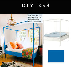 ikea hack painted canopy bed in heidi merrick u0027s room via elle