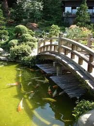 garden design large koi pond with bridge in japanese garden