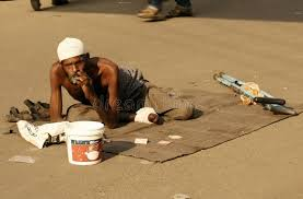 Seeking In Hyderabad Indian Sick Beggar Seeking Help On A Busy Road Editorial