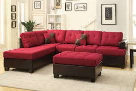furniture contemporary red vinyl chaise sofa with tufted seat