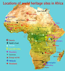 African Continent Map Natural Places African World Heritage Sites