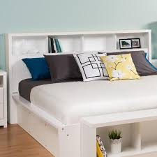 White Bookcase With Storage King Size Bookcase Headboard With Storage Shelves In White