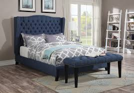 Modern Queen Bed Frame Acme Furniture 20880 Faye Blue Wingback Tufted Nailhead Trim