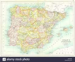 Map Of Portugal And Spain Iberia Spain Showing Provinces U0026 Portugal 1909 Antique Map Stock