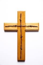 poplar wooden cross with barbwire light gloss project