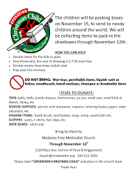 bring one shoebox at a time modesto free methodist church