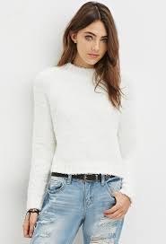 forever 21 fuzzy mock neck sweater in white lyst
