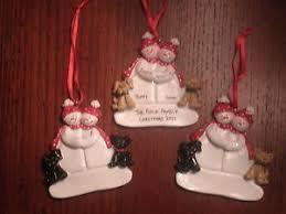 personalized snowman couple w 2 dogs christmas ornament ebay