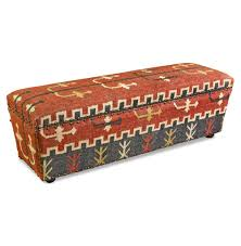 Rustic Storage Bench Mtn Ray Solid Wood And Kilim Rustic Storage Bench Kathy Kuo Home