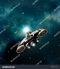 science fiction illustration spaceship about enter stock