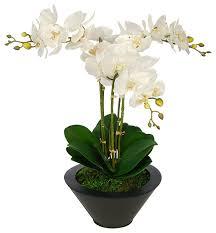 Artificial Flower Arrangement In Vase Artificial Triple Stem Orchid In Black Round Zinc Vase White