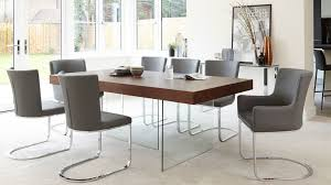 Modern Dark Wood Dining Table Glass Legs Seats  To - Dining room table glass