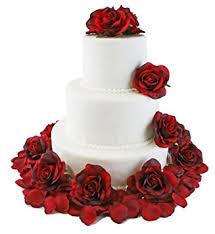amazon com red silk rose cake flowers reception decoration