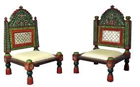 Teak Wood Handcarved Teak Wood Low Height Pidha Chairs 2 Pcs Handmade