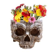 aliexpress com buy p flame hand carved flower pot human skull