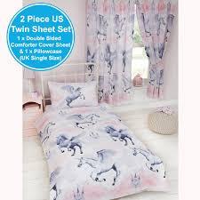 Uk Single Duvet Size Stardust Unicorn Single Duvet Cover Set Girls Kids Bedding New Ebay