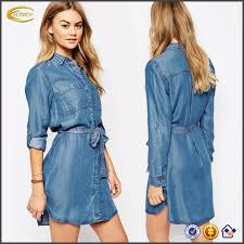 wholesale long sleeve classic point collar belted tie waist denim