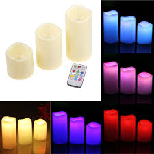 3 candle electric light home decor 3pcs set cylindrical colorful remote control timed