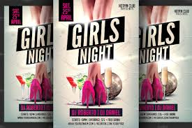 girls ladies night party flyer flyer templates creative market