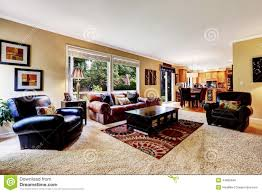 Luxury Family Room With Comfortable Leather Couch Stock Photo - Comfortable family room