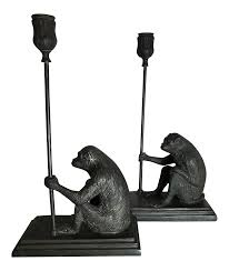 Maitland Smith Lamp Shades by Maitland Smith Bronze Monkey Candleholders A Pair Chairish