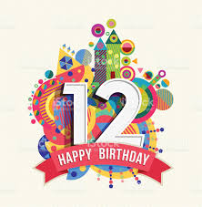 text birthday card happy birthday 12 year greeting card poster color stock vector