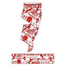 ribbon with words 2 5 football gear crimson white ribbon football gear white