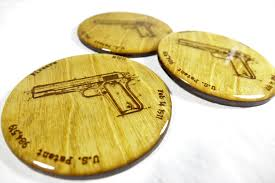 Browning Home Decor Set Of 4 Browning M1911 Coasters Us Patent Firearm M 1911 Gun