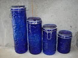 cobalt blue kitchen canisters vintage cobalt blue embossed glass wire bales canister set