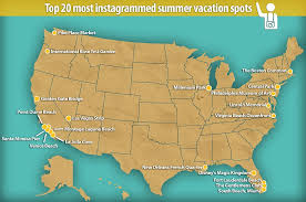 map of us vacation spots the 20 us vacation spots photographed the most on instagram