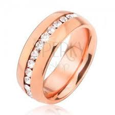 surgical steel band surgical steel band in pink gold colour line of clear zircons