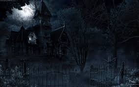 horror house and moon hd wallpaper