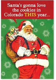 funny feeding santa colorado cookies christmas card