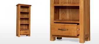 barham oak petite bookcase with drawer quercus living
