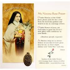 prayer card st therese novena prayer card with medal society of the