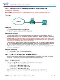 lab testing network latency with ping and traceroute ilm