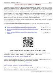 system software 3rd edition leland l beck eym14 pdf