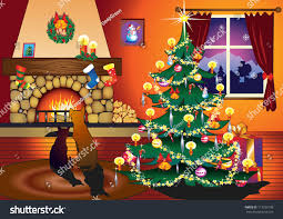 cat dog sitting on front fireplace stock vector 113533198