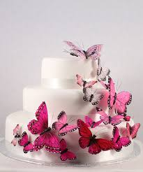 butterfly wedding cake decorations pink