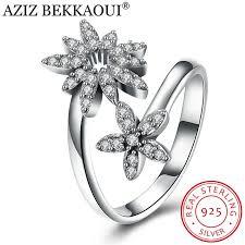 sted rings aziz bekkaoui 925 sterling silver dazzling flower open finger
