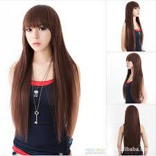 sissy hairstyles 20104 new fashion lady s long natural straight bangs full hair wig