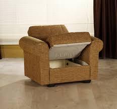 living room with storage sleeper sofa in mustard fabric