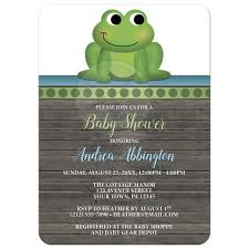 shower invitations frog green rustic brown wood