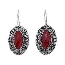 ottoman silver jewelry collection marquise red corundum drop