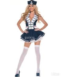 Halloween Army Costumes Womens Cosplay Military Costumes Women Navy Striped Sailor